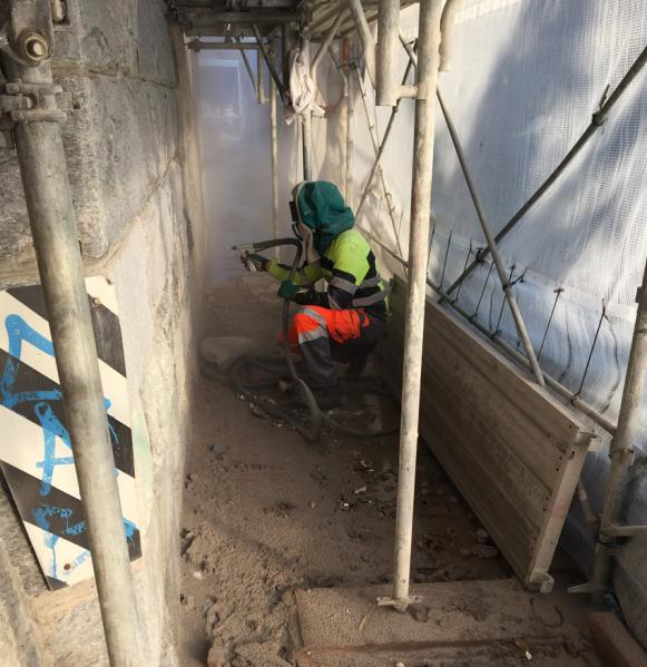Sabbiatura pareti in beton